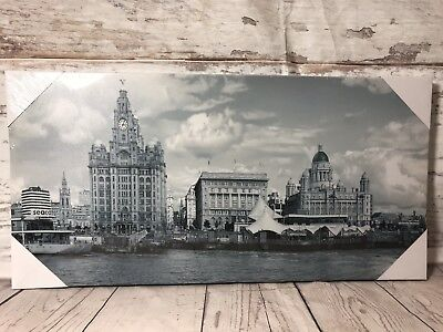 £13.99 • Buy Liverpool City Water Front Canvas Picture Old Retro Look Ready To Hand Wall Art
