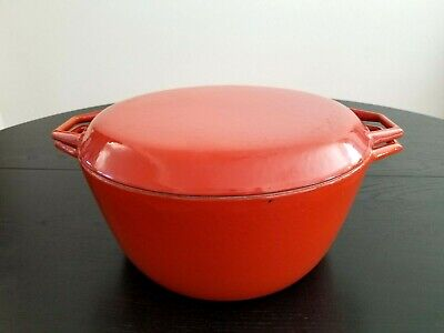 $ CDN190.31 • Buy COPCO Denmark Michael Lax 7 Quart Enamel Cast Iron Dutch Oven Orange LARGE D4 Sz