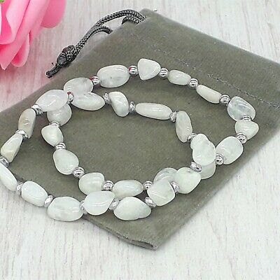 Handmade Natural Moonstone Gemstone Stretch Bracelet & Velvet Pouch. • 5.99£