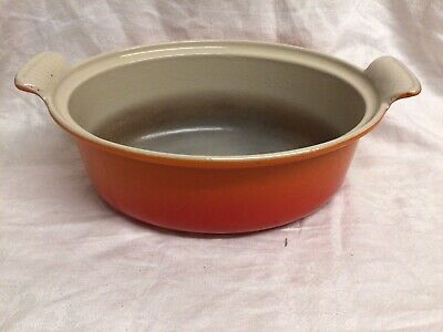 Vintage Le Creuset  Oval Size 26  Orange Cast Iron Casserole Dish NO Lid. • 45£