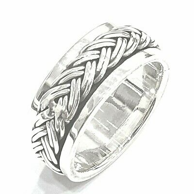 925 Sterling Silver Solid Plain Plaited Spinning Thumbs Ladies & Men Ring Size O • 33.25£