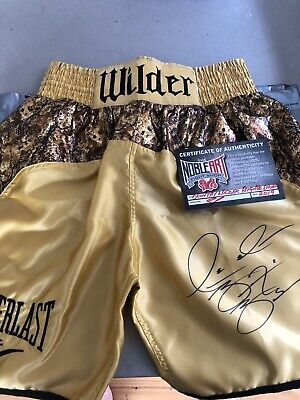 AU330 • Buy Signed Boxing Trunks, Deontay Wilder.