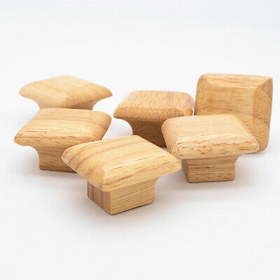 £4.15 • Buy 6PC Square Wooden Door Knobs Cabinet Drawer Cupboard Home Furniture Pull Handles