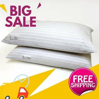 £6.99 • Buy Pack Of 2 Hotel Quality Egyptian Stripe Pillows Luxury Soft Hollow Fibre Filled