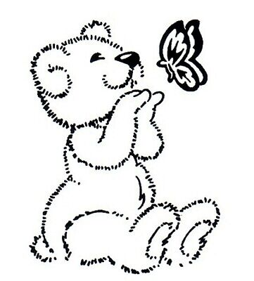 Easter - Animal - Teddy Bear - Butterfly Unmounted Clear Stamp Approx 46x60mm • 2.99£