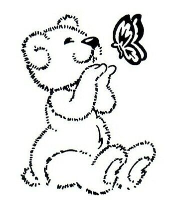 Easter - Animal - Teddy Bear - Butterfly Unmounted Clear Stamp Approx 53x70mm • 4.09£