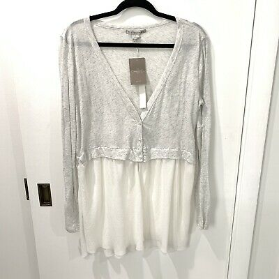 $ CDN41.25 • Buy  Anthropologie Willoughby Long Sleeve Tunic Top Sz Large Deep V-neck Grey White