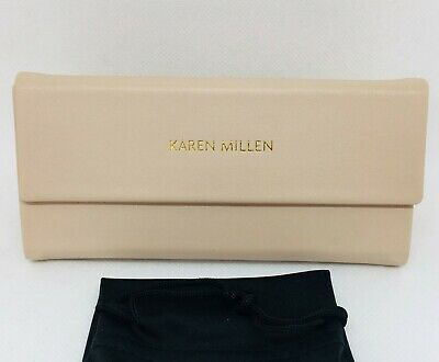 Karen Millen Faux Leather Folding Glasses Case With Dust Bag - Cream **New** • 11.99£