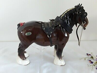 Vintage Beswick Ceramic Shire Horse With Harness & Label • 18£