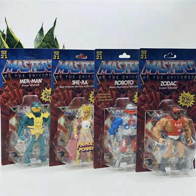 $99.98 • Buy Set 4 Masters Of The Universe Origins Wave 3 Mer-man, Zodak, She-Ra, Roboto NEW