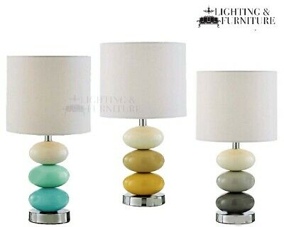 £26.99 • Buy Panatone 3 Colour Ceramic Pebble Table Lamp With Ivory White Drum Lamp Shade