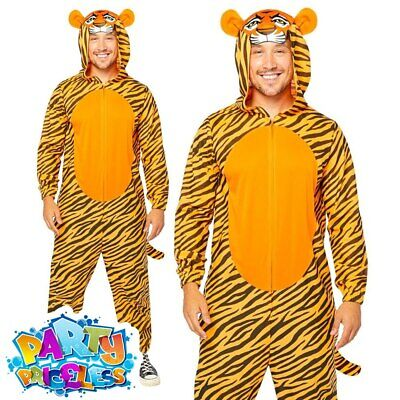 £18.99 • Buy Adult Tiger Jumpsuit Costume Safari Animal Zoo Book Week Day Fancy Dress Outfit
