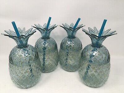 Pineapple Blue Glitter Drink Cups With Straw Tropical Luau Party Decor  New 4 • 20.74£
