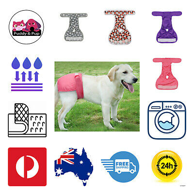 AU9.50 • Buy Female Dog Puppy Cat Belly Bands Sanitary Training Pants Diapers Nappy 4 Sizes