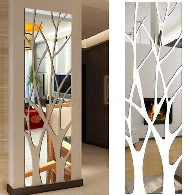 3D Wall Sticker Mirror Tile Square Self Adhesive Tree Decor Stick Removable Arts • 10.29£