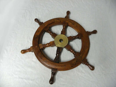 £27 • Buy Brass Vintage Wooden Ship Steering 18 Inch Marine Wheel Pirate Wall Boat Decor