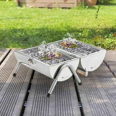 £29.95 • Buy Portable Stainless Steel Barrel BBQ Camping Table Top Charcoal Fire Barbecue Pit