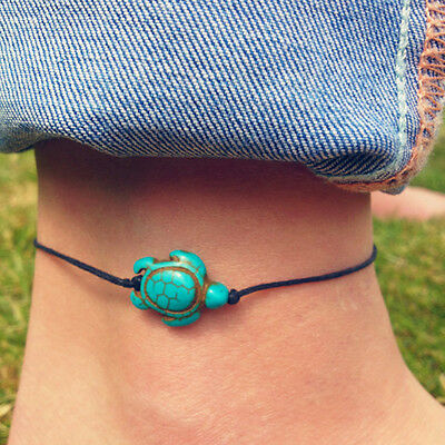 Nice String Tie On Bracelet Anklet Turquoise Turtle Calming Beach Surfer Jewelry • 1.89£