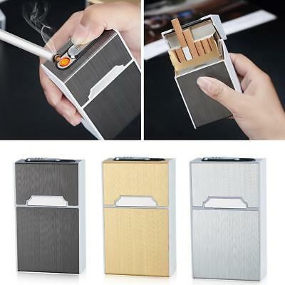 BIN 20 Sticks Automatic Cigarette Case With Inbuilt Windproof Lighter Box Sale • 4.77£