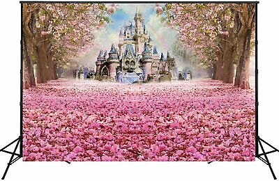 £22.87 • Buy Pink Cherry Blossoms Backdrop Fairytale Castle Photography Background Birthday