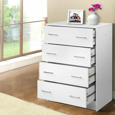 AU123.39 • Buy Artiss 4 Chest Of Drawers Tallboy Dresser Table Bedroom Storage Cabinet White