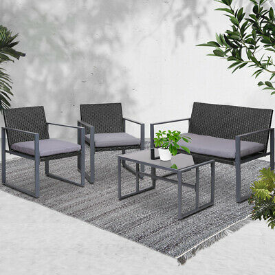 AU218.10 • Buy Gardeon 4PCS Outdoor Furniture Setting Patio Wicker Chairs Table Set Lounge
