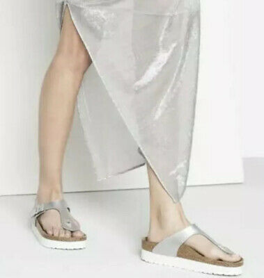 Birkenstock Papillio Gizeh Marble Silver White  Leather Thong Sandal Size 38 New • 88.45£