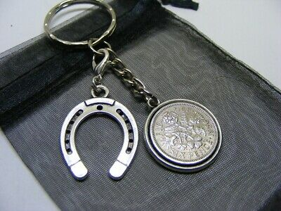 1956 Lucky Sixpence & Lucky Horseshoe Charm Keyring - 65th Birthday Gift (SK00) • 5.95£