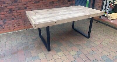 Handmade Bespoke Industrial Dining Table With Metal Legs Rustic Style • 245£