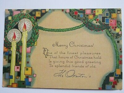$ CDN4.99 • Buy Vintage Christmas Card - Art Deco With Candles Abd Embossed