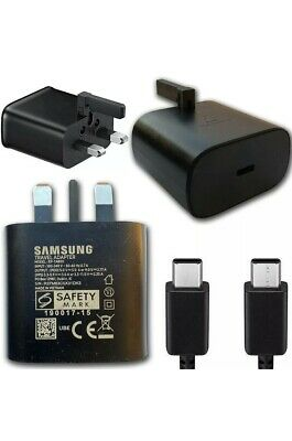 GENUINE SAMSUNG SUPPER FAST CHARGER & CABLE USB Type C To C For Note 10 S20 ,S21 • 13.99£