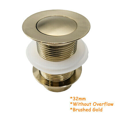 £21.94 • Buy High Quality Unslotted Gold Click Clack Basin Waste Brass Sink Pop Up Plug Push