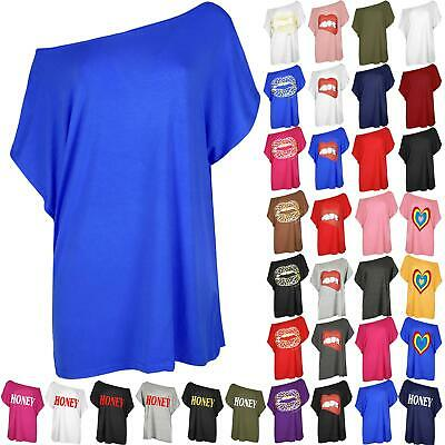 Womens Oversized Baggy Top Plain Slash Neck Ladies Off Shoulder Bardot T Shirt • 3.49£