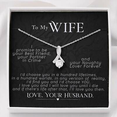 AU49.22 • Buy To My Wife Necklace Valentines Day CZ Pendant Wife Gift For Her, I Promise To Be