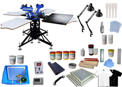 £744.63 • Buy 3Color Screen Printing Kit With Flash Dryer Exposure Unit Silk Press Ink Tools