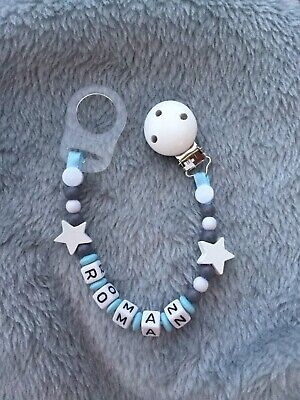 £5.50 • Buy Personalised Baby Dummy Soother Wooden Clip Strap  Gift Shower Grey Free Adapter