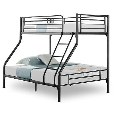 4ft6 Bunk Bed Metal Double Bed Frame Kids Children Triple Sleeper With Stairs • 145.99£