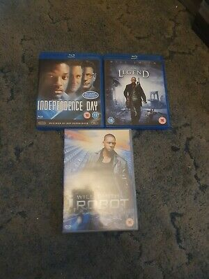Will Smith DvD Blu-ray Bundle I,robot Independence Day And I Am Legend • 6.99£