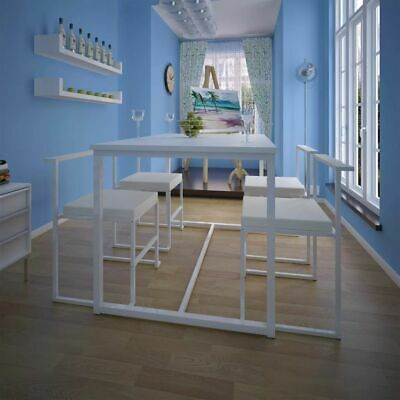 AU264.95 • Buy 5 Pcs Dining Table And Chair Set 4 Seater Steel Frame Kitchen Furniture White