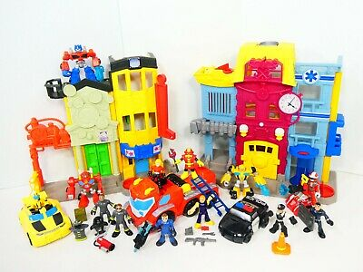 Rescue Bots Fire Station Imaginext Playskool Transformers City Police Playset • 61.51£