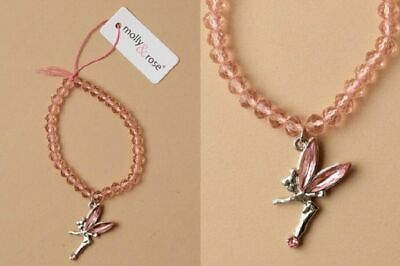 New Girls Pink Fairy Charm Beaded Stretch Bracelet (2014) • 2.39£