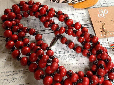 £22.90 • Buy Plunder Design Fashion Trendy Jewelry Freedom Red Wood Bead Cord Necklace