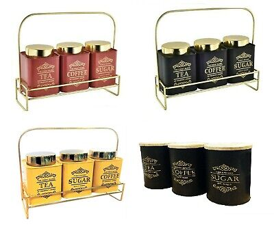 Set Of 3 Tea Coffee Sugar Canisters Storage Jars With Stand- Vintage New Design • 22.99£