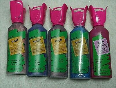 5 X Tulip Fabric Paint Bundle - Mixed Colours - Glitter And Pearl • 5£