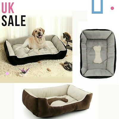 Pet Basket, Bed With Fleece Soft Comfy Fabric Washable Dog Cat Cosy Dogs Cats • 14.95£