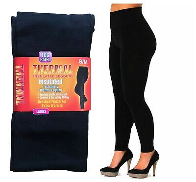 £5.95 • Buy Ladies Women Thermal Leggings Fleece Lined Winter Thick Black 2.3 Tog Rated S-xl