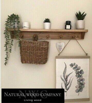 £23.99 • Buy Made To Order Solid Wood Shelf With Shaker Pegs Peg Rail Natural Or Oak Waxed