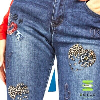£10.99 • Buy Ladies Denim Jeans With Sequins/Beads BNWT (Size S/M/L/XL AVAILABLE)