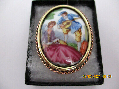 £16 • Buy Limoges Vintage Brooch Pin Romatic Couple Man Playing Mandolin.