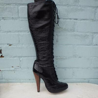 French Connection Patent Leather Boots UK 5  Eur 38 Womens Lace Up Black Boots • 49.99£